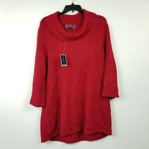 Karen Scott XL Red Cowl Neck Sweater 6AQ89
